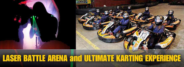 photo of laser shooting game and kart racing